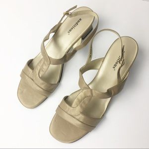 Auditions Nude Cream Strap Sandal Small Heel 13M